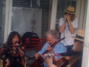 L-R Maria Muldaur, Peter Rowan, Matt Hubbard and Papa Mali perform at Papa Mali's 55th birthday party, New Orleans 2012